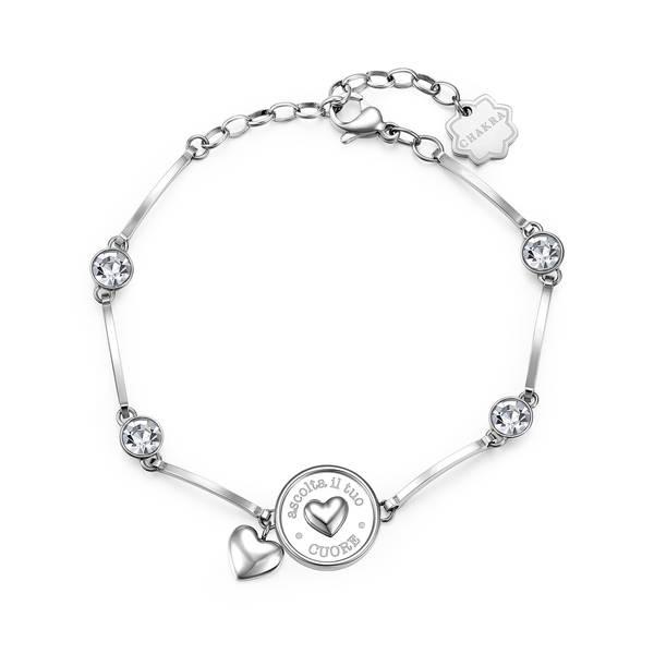 Brosway - Bracciale CHAKRA in acciaio, medaglietta cuore e cristalli crystal