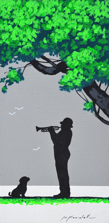 Mondelli Giò Il musicista e il cane Tecnica mista Formato cm 15x30