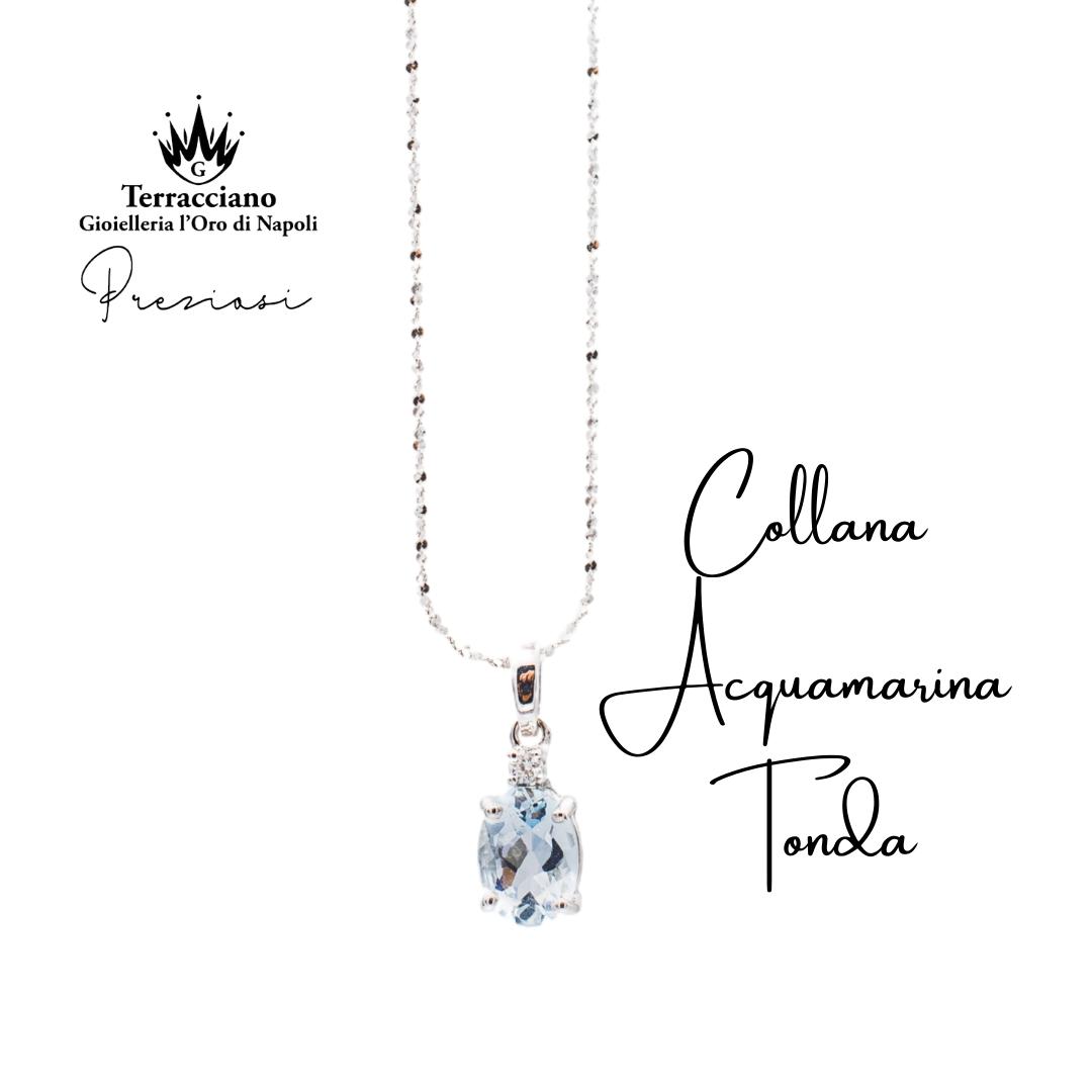 Collana in Oro bianco con Acquamarina Tonda e Diamante