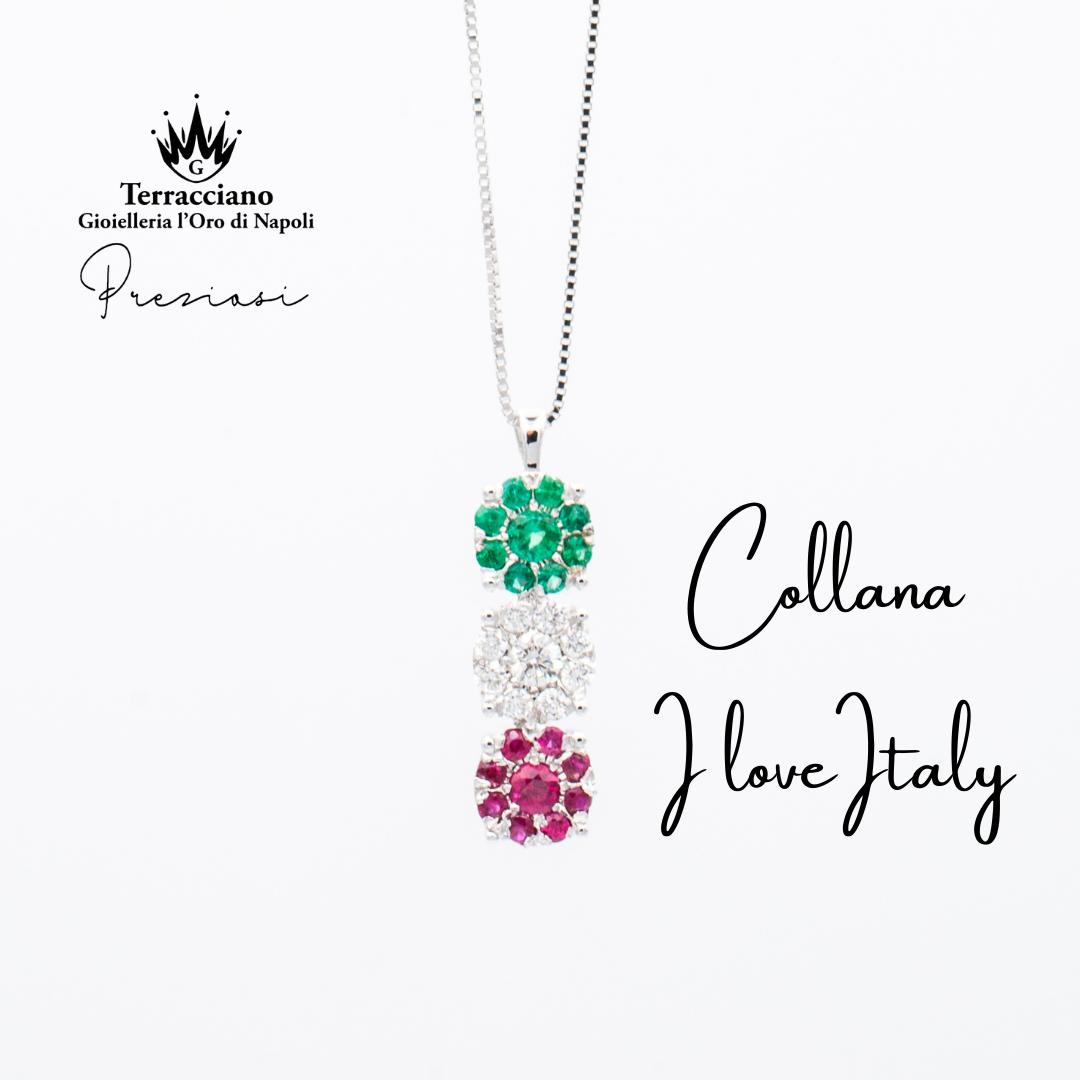 Collana I Love Italy con Smeraldi, Diamanti e Rubini