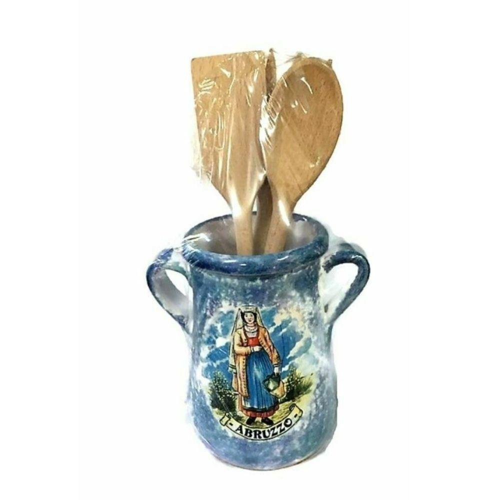 Porta mestoli in ceramica con mestoli souvenir Abruzzo