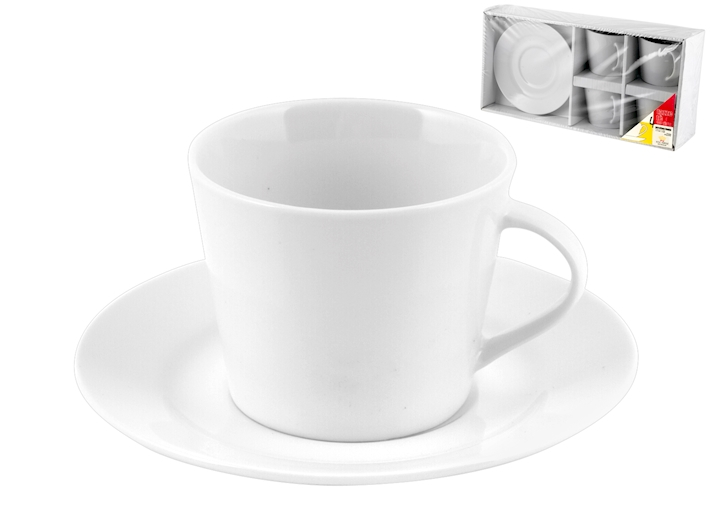 4 tazze da the bianche in porcellana con piattino