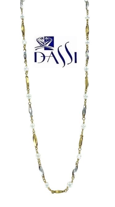 Girocollo in oro giallo e bianco 18kt con perle di 5 mm