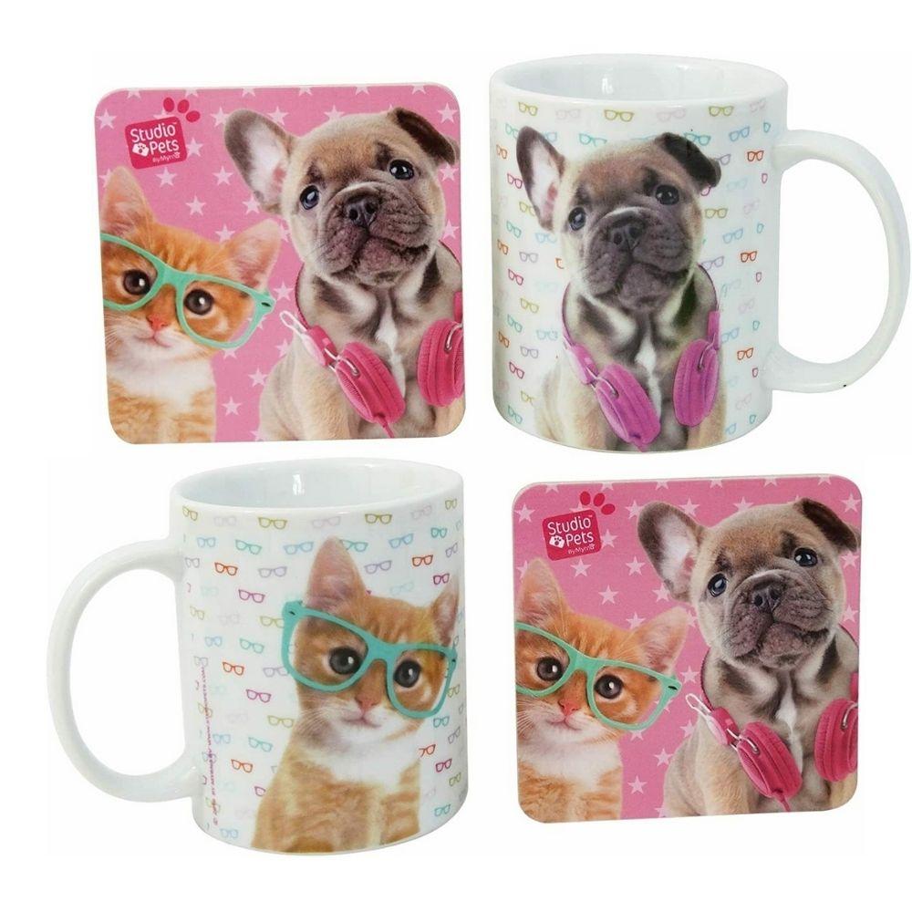 Cane e Gatto tazza in porcellana latte tè tisane + sotto tazza
