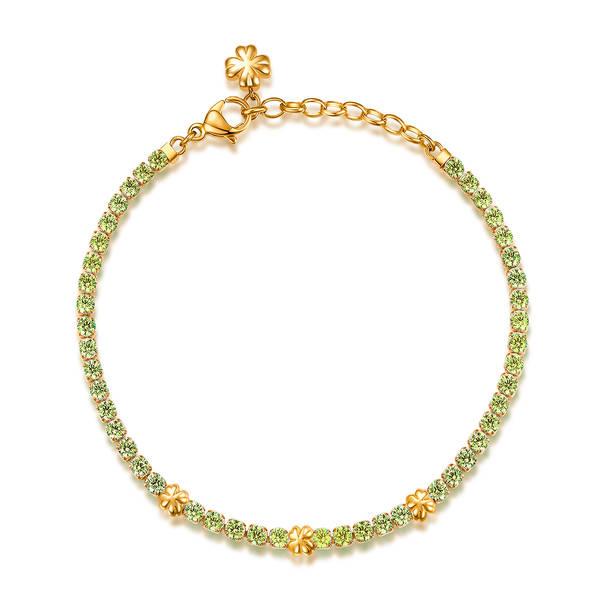 Bracciale DESIDERI della brosway in acciaio, pvd oro, quadrifogli e zirconi nano emerald