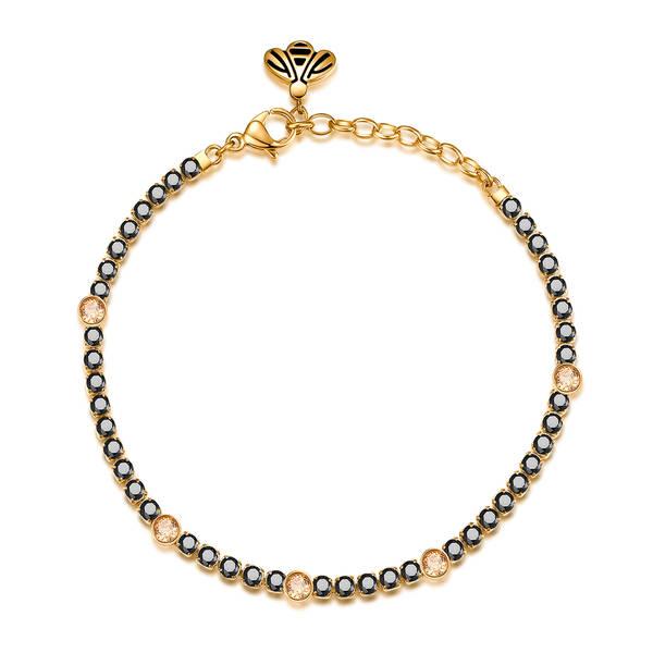 Bracciale DESIDERI della brosway in acciaio, pvd oro, ape, zirconi black e cristalli golden honey