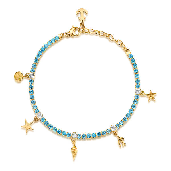 Bracciale DESIDERI della Brosway in acciaio, pvd oro, conchiglie, zirconi blue e cristalli crystal