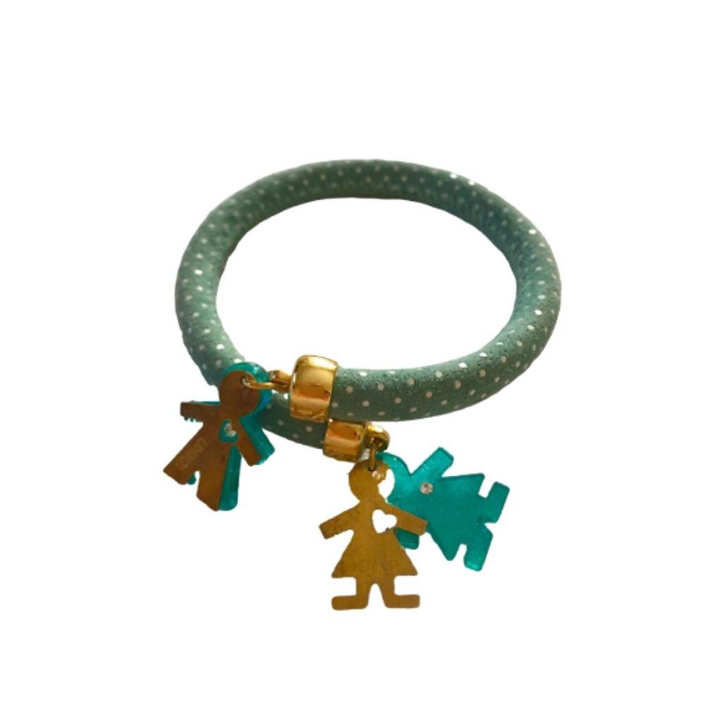 Bracciale Flex design schiava a pois verde acqua in pelle con coppia Birikini