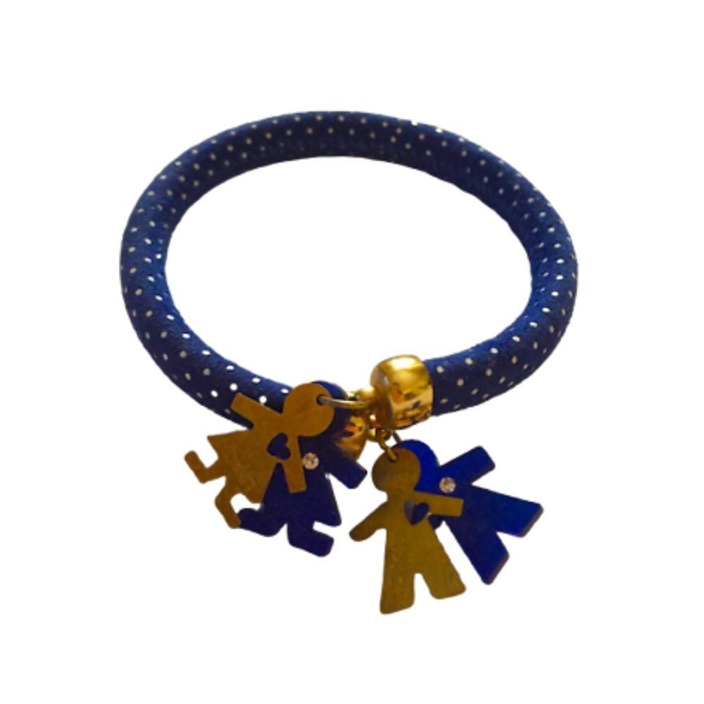Bracciale Flex design schiava a pois blu in pelle con coppia Birikini