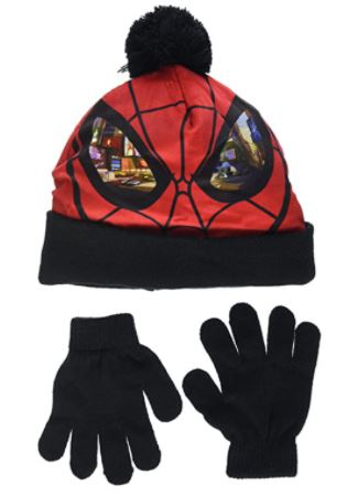 Cappello con guantini Spiderman Misura unica veste da 3 a 6 anni colore nero