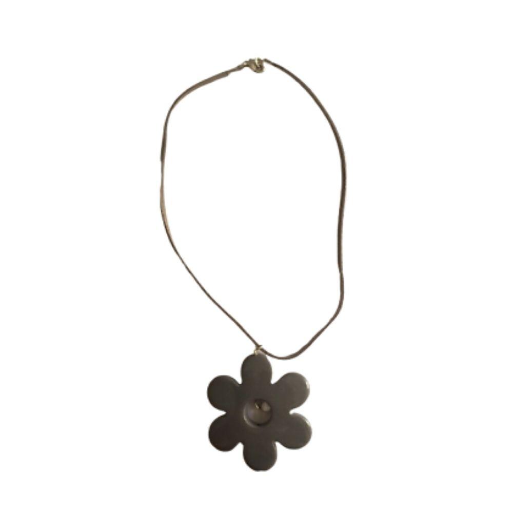 Girocollo collana alcantara con fiore grigio in resina