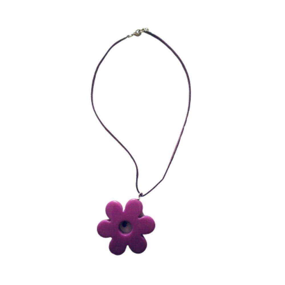Girocollo collana alcantara con fiore viola
