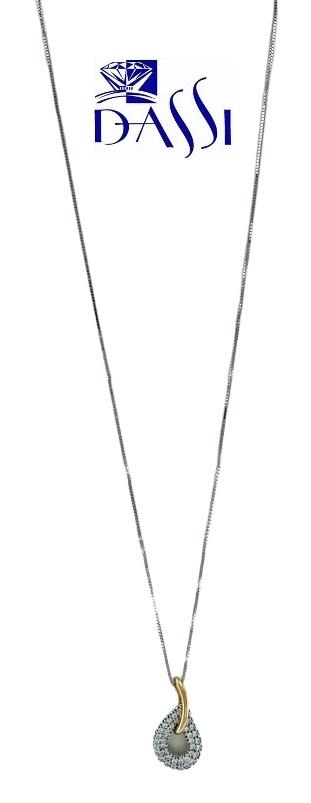 Girocollo in oro bianco e rosè 18kt con ciondolo composto da una maglia ovale