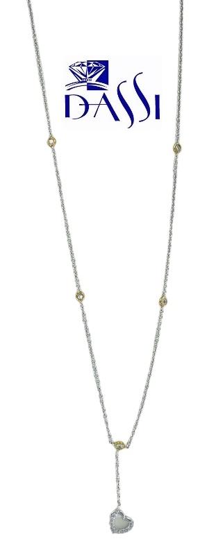 Girocollo in oro bianco 18kt stile Tiffany con cuore in oro bianco