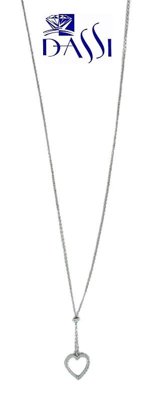 Girocollo in oro bianco Alessi con ciondolo a cuore e zirconi