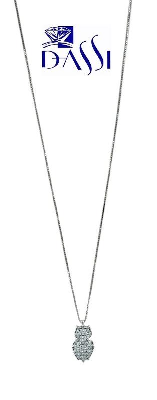 Girocollo in oro bianco con ciondolo a gufo con pavè di zirconi