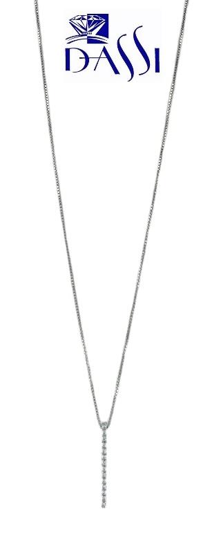 Girocollo in oro bianco ciondolo a barretta con zirconi incassati a grif
