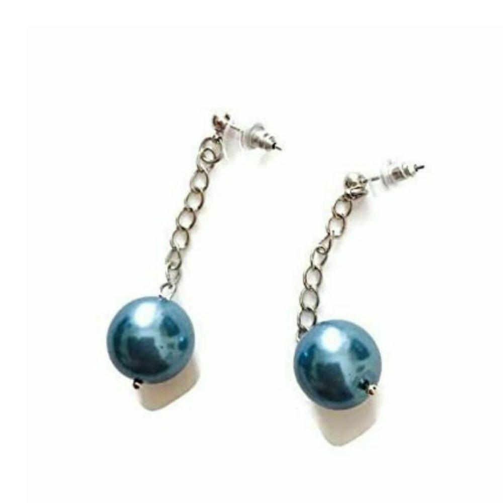 Orecchini made in Italy perle cerate azzurro grigio
