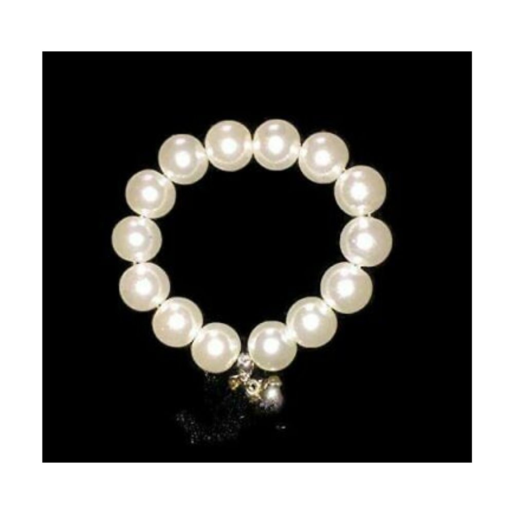 Bracciale bianco con charms made in Italy perle cerate