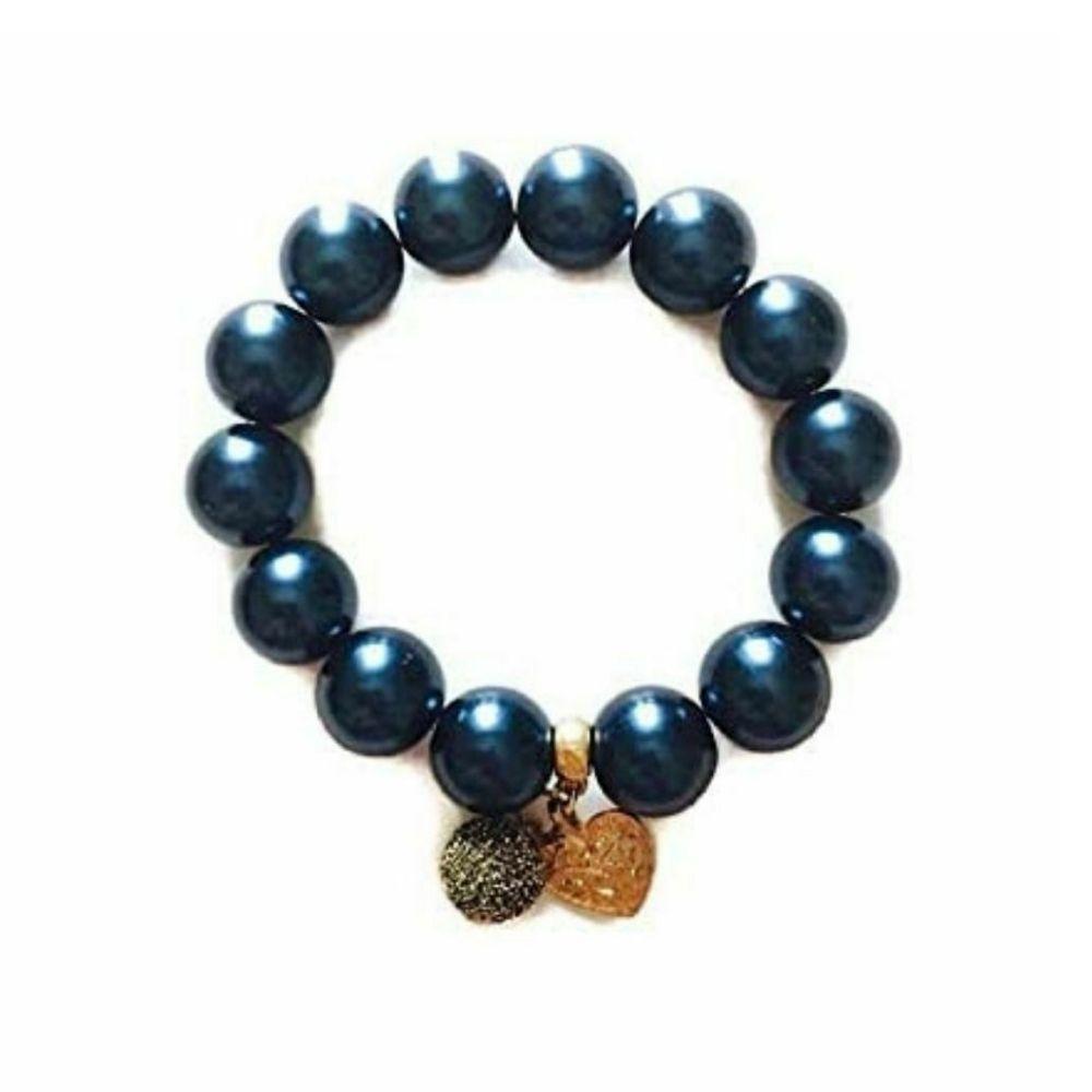 Bracciale blu grigio con charms made in Italy perle cerate