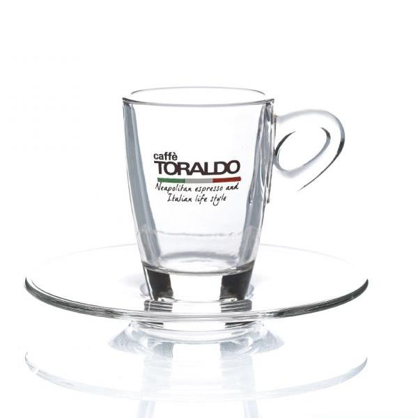 Set 6 tazze con piattini in vetro Toraldo