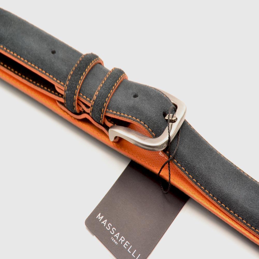 F. Massarelli -Terni- Cintura Uomo Camoscio Blu C9011