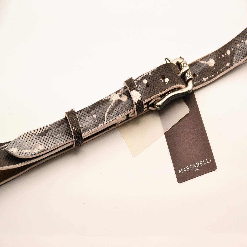 F. Massarelli -Terni- Cintura Uomo Cuoio H.M./White C002