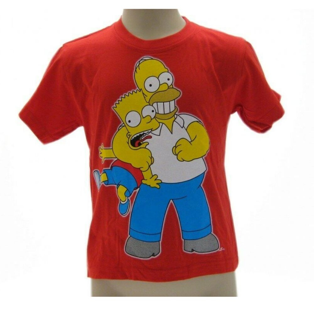 T-shirt maglietta manica corta Simpsons Homer & Bart taglia S