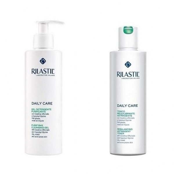 Rilastil daily care gel detergente purificante 250ml+tonico riequilibrante astringente 250ml