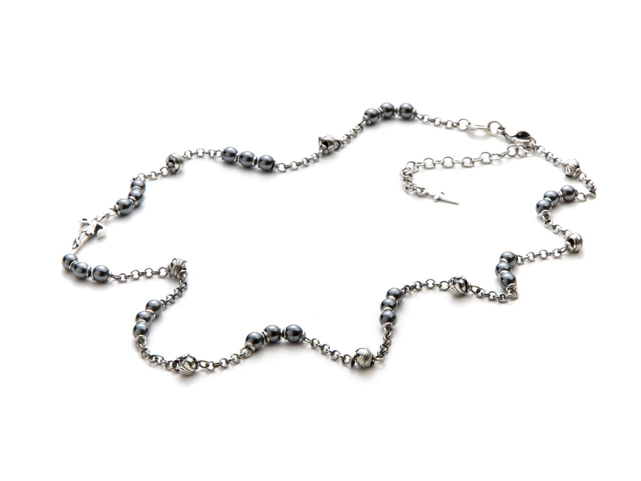 Cesare Paciotti, Collana rosario in argento con sfere in ematite e argento