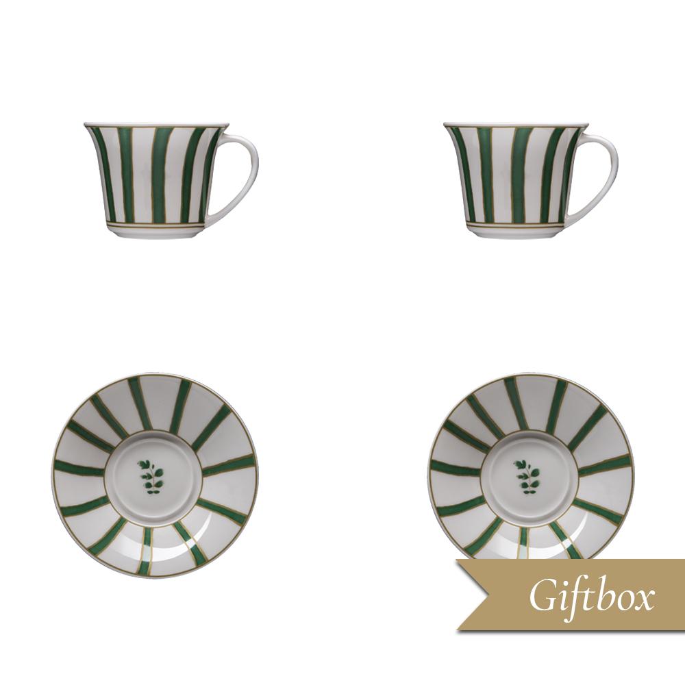 Set caffè 4 pezzi in Giftbox GCV   Striche Verdi e Oro