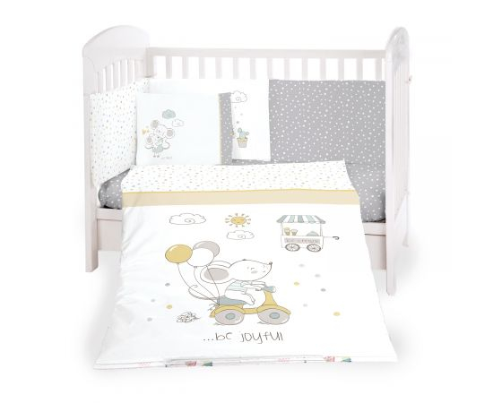 Kikka Boo - set di biancheria da letto per bambini realizzato in cotone ranforce di prima qualità al 100%; 6 Pz misura 60/120 - Joyful Mice