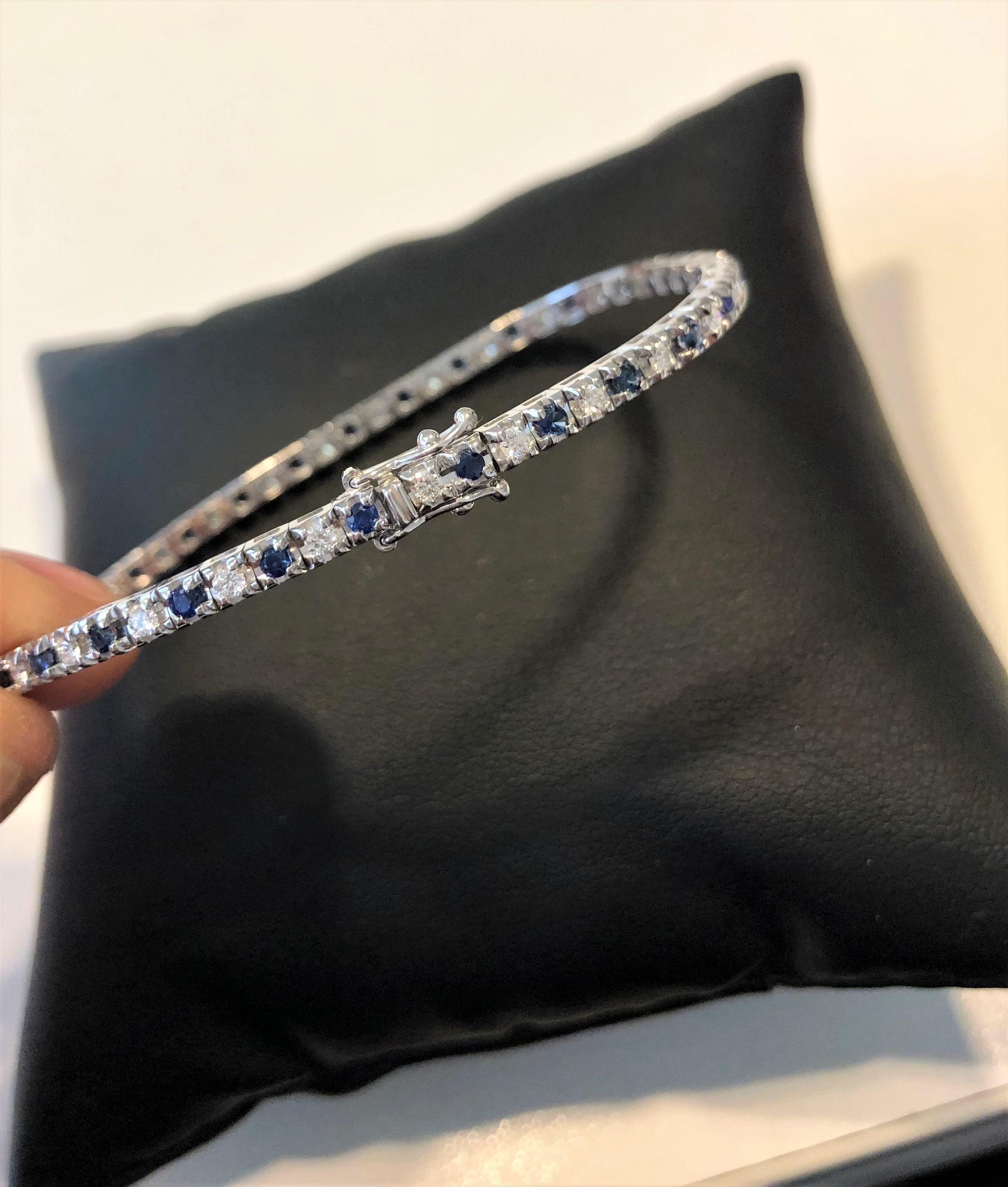 Bracciale tennis con diamanti e zaffiri blu