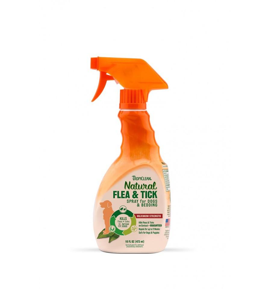 TROPICLEAN NATURAL FLEA TICK SPRAY DETERGENTE PER CANI 473 ml