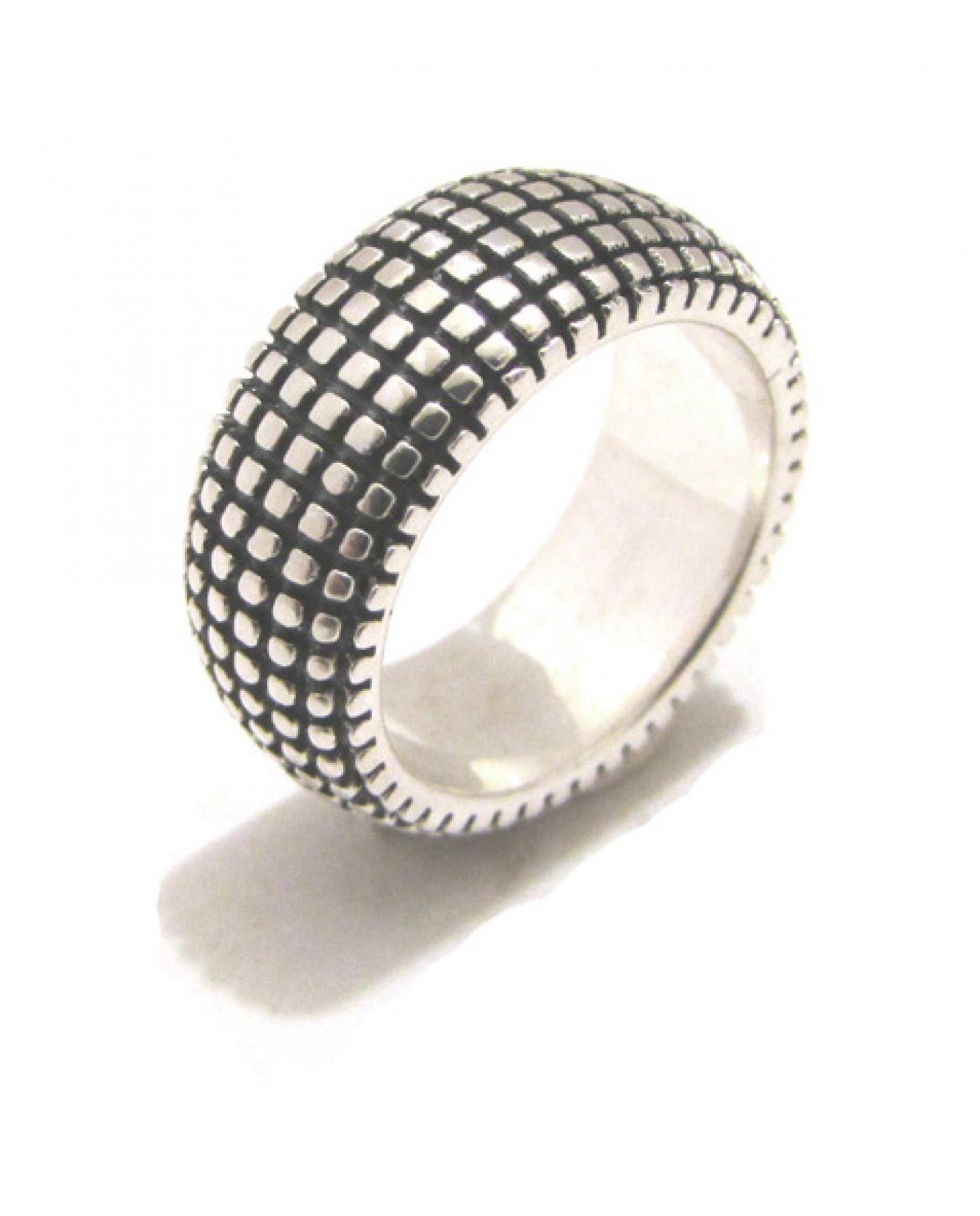 Fascia in argento con motivo a rete