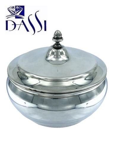 Zuccheriera rotonda in argento 800 stile inglese con coperchio