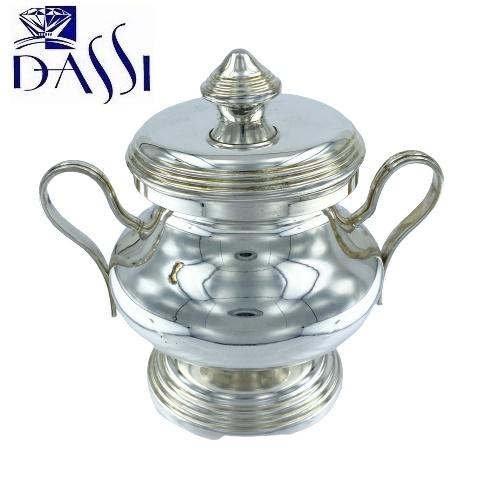 Zuccheriera rotonda in argento 800 stile inglese con manici