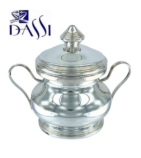 Zuccheriera rotonda in argento 800 stile inglese con manici.