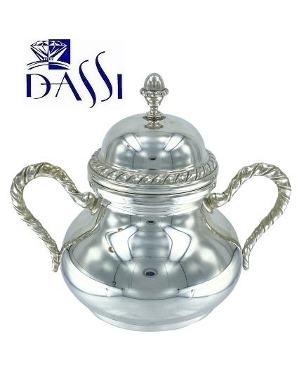 Zuccheriera rotonda in argento 800 stile S Marco con manici.