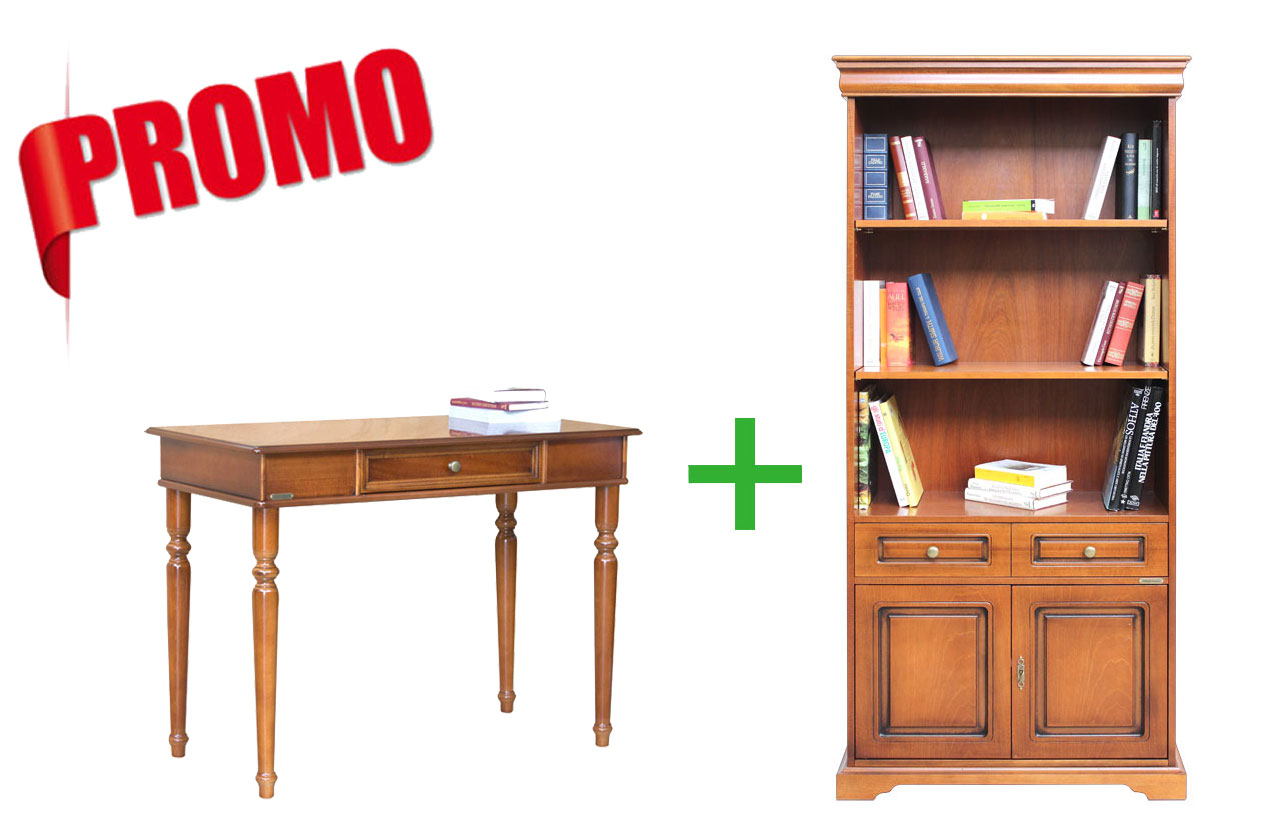 [HOMEOFFICE] - Desk + bookcase Louis Philippe