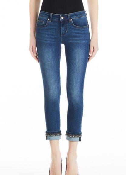LIU-JO JEANS UF0006D4186 Jeans bottom up monroe con piega bordi gioielli