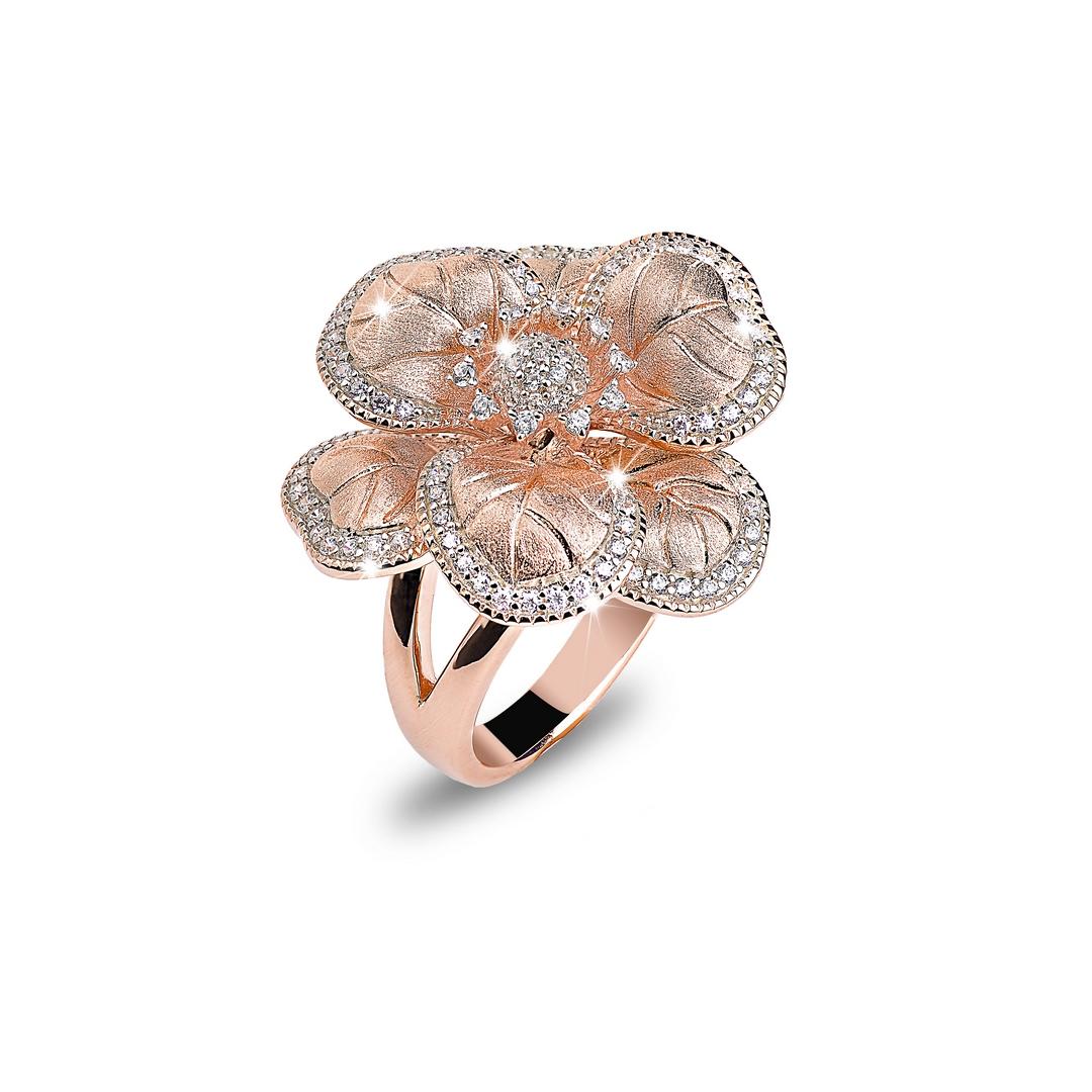 BROCCHI, anello a fiore argento rosè e zirconi
