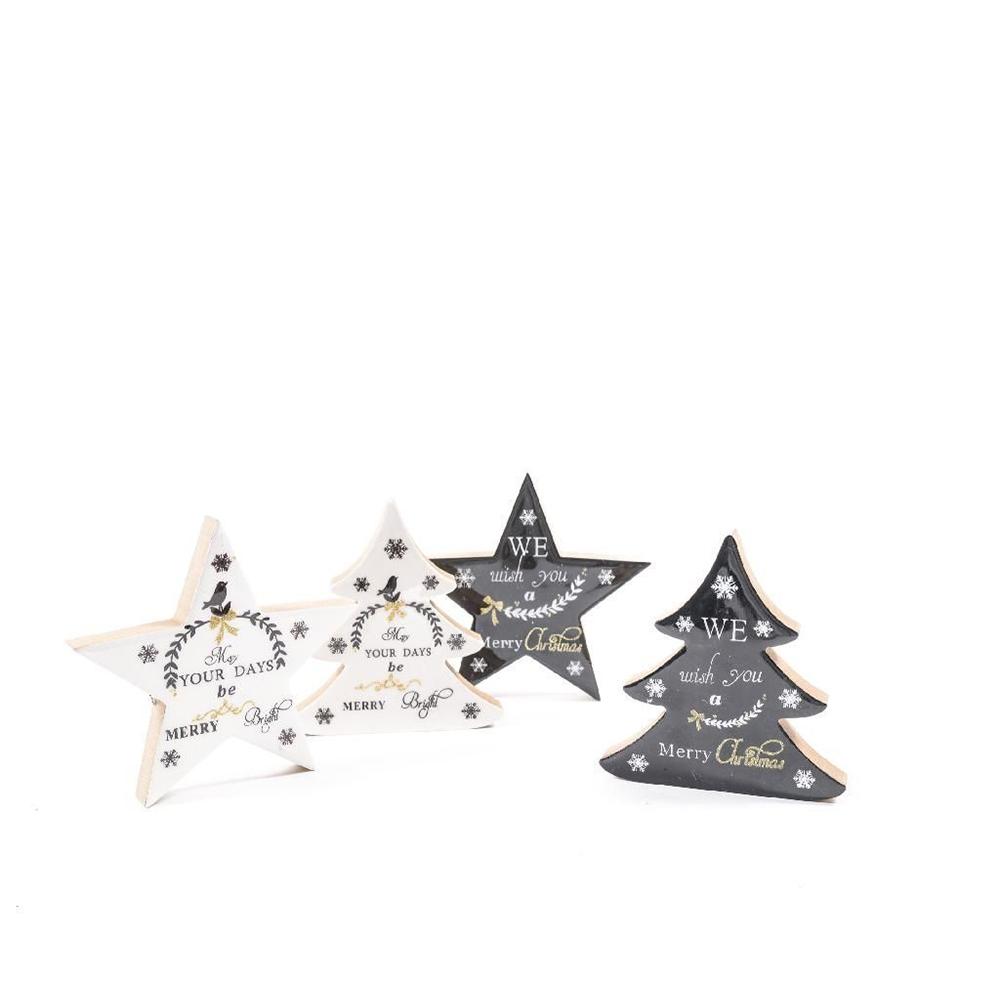 Decorazione Natalizia Stella o Albero Di Natale Laccato da Appoggio 16 cm