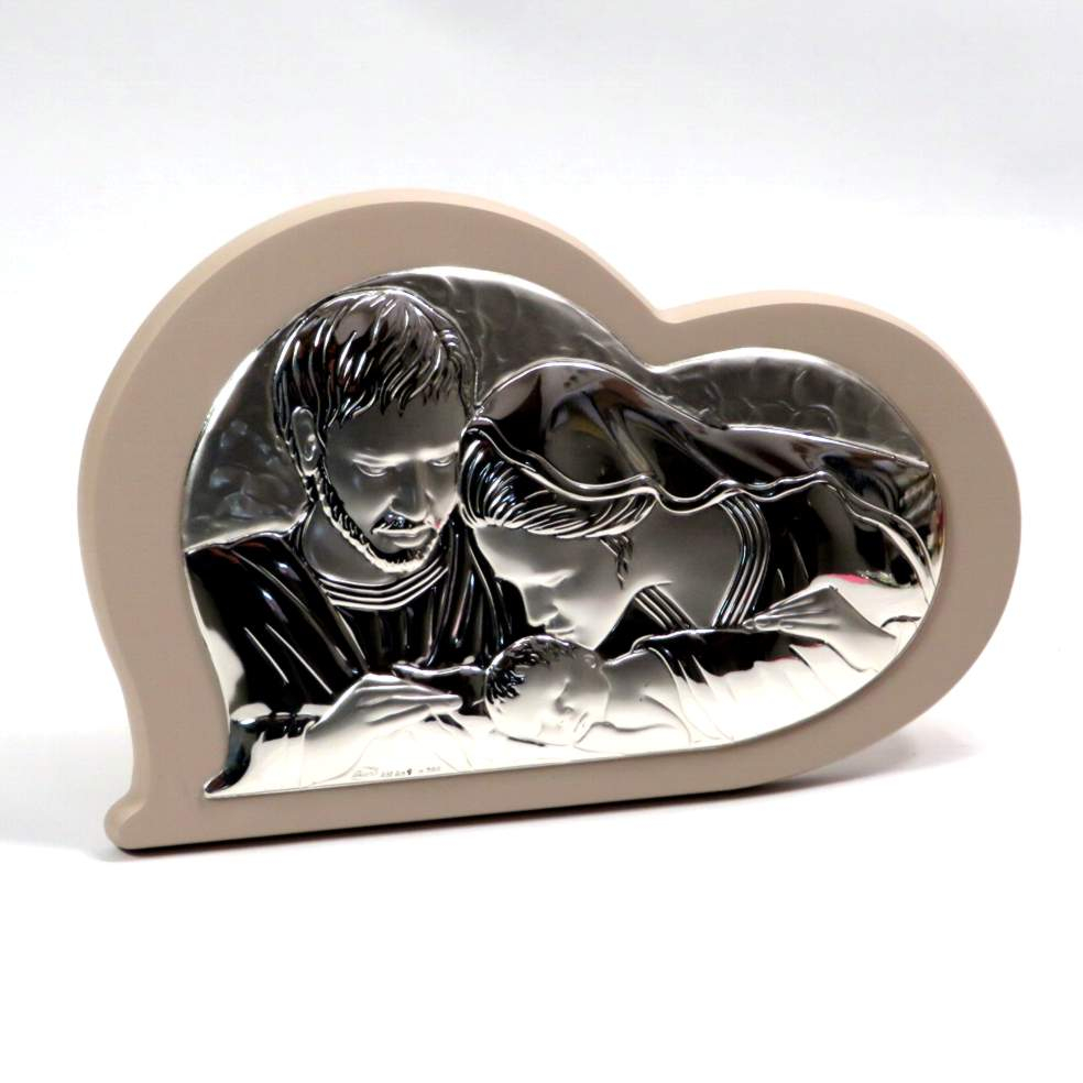 Icona sacra famiglia cuore 17cm