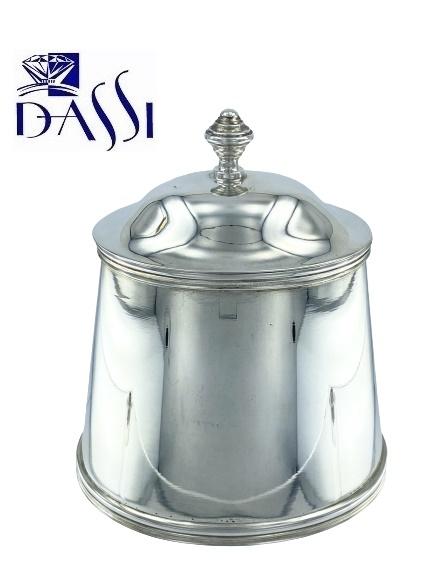 Zuccheriera ovale in argento 800 con coperchio