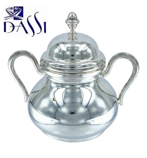Zuccheriera stile inglese in argento 800 con coperchio e manici