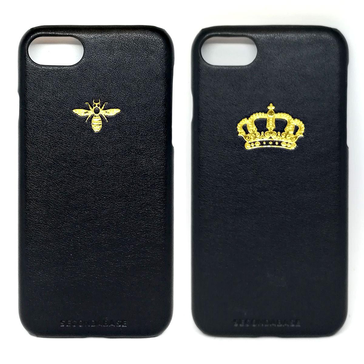 Cover in ecopelle nera marchiata oro a caldo per iPhone 7/8/SE2020 e 7/8 Plus