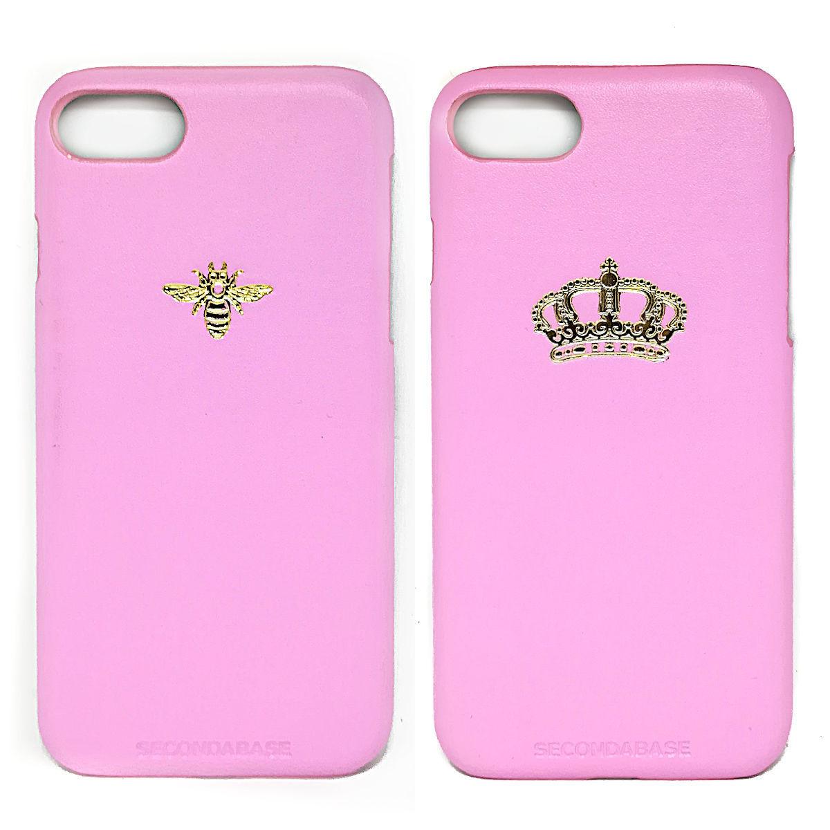 Cover in ecopelle rosa marchiata oro a caldo per iPhone 7/8/SE2020 e 7/8 Plus