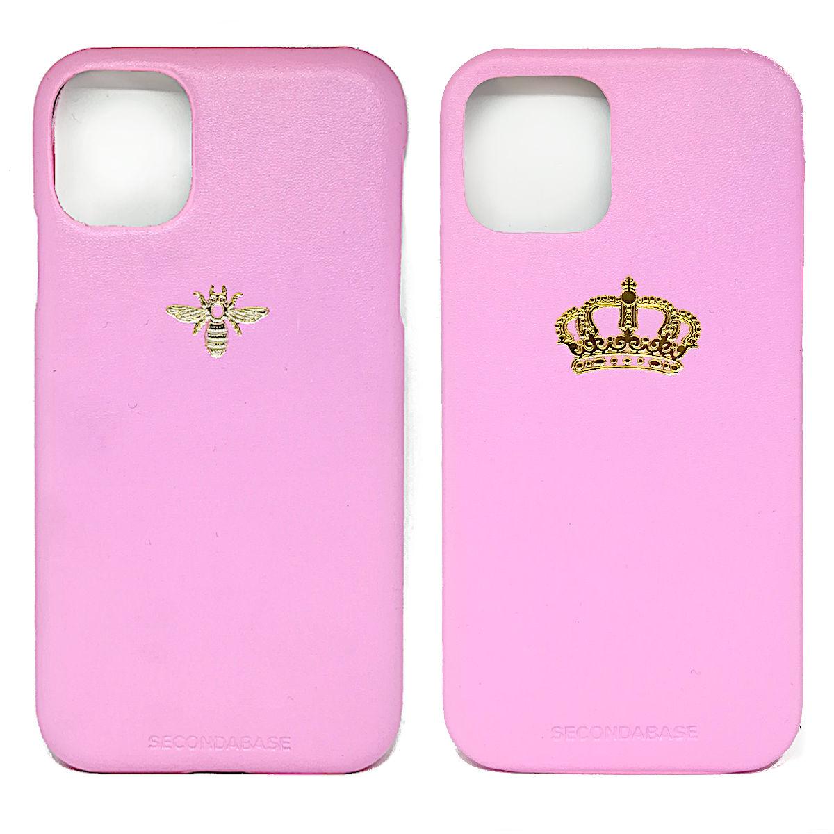 Cover in ecopelle rosa marchiata oro a caldo per iPhone 12, 12 Pro, 12 Mini, 12 Pro Max