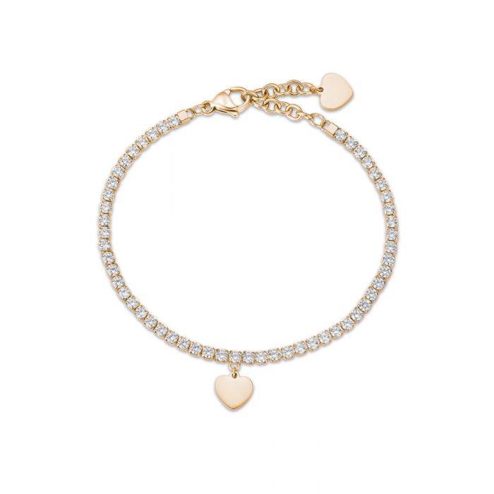 Luca Barra - Bracciale in acciaio dorato con cuore e cristalli bianchi